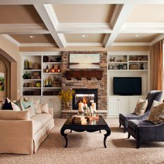 When homeowners invite guests and company into their home typically the first thing that visitors see is the living room, or family room, of the house. Unless there is a foyer before the living roo… Shelves Around Fireplace, Fireplace Bookshelves, Fireplace Built Ins, Fireplace Wall, Fireplace Surrounds, Fireplace Design, Fireplace Cover, Concrete Fireplace, Fireplace Ideas