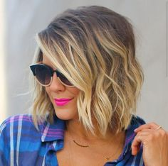 Wavy ombre bob haircut with centre parting for oval faces Credit   For an oval face, the centre parted medium-length bob is a real flatterer!? If you have naturally wavy hair this bob haircut is a great style to wear as it couldn't be easier to style!? The parting emphasises the lovely symmetry of your …
