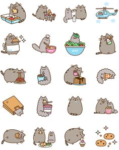 Pusheen Eats Facebook Stickers - Stickers Emoticon