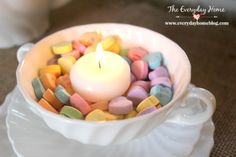 White Teacup filled with Candy Heart and a Candle from The Everyday Home