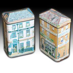 IAN LOGAN VICTORIAN HOUSE SHAPED SMALL TINS SHOP & ROSE CROWN INN 1986 - PAIR | eBay