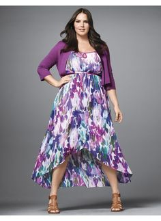 Lane Bryant Plus Size Printed tulip hem dress - - Women's Size 14/16, Huckleberry