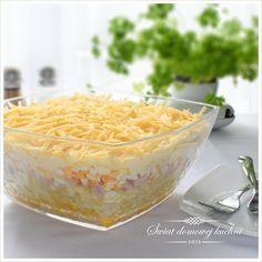 Sałatka warstwowa z szynką i ananasem Macaroni And Cheese, Pudding, Ethnic Recipes, Desserts, Blog, Pineapple, Tailgate Desserts, Mac And Cheese, Deserts