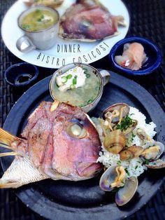 Bistro cosicosi❤︎ Today's Dinner❤︎ date❤︎2015.4  ⋈真鯛の釜焼き(塩) ⋈真鯛のカルパッチョ(〆) ⋈真鯛お味噌汁(アサリ出汁) ⋈アサリ出汁ちょいかけ白飯  #ビストロコジコジ