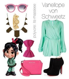 """Vanellope von Schweetz"" by its-massieee ❤ liked on Polyvore featuring VIVETTA, RALPH, House of Harlow 1960, Michael Kors, Marc by Marc Jacobs and Christian Louboutin"