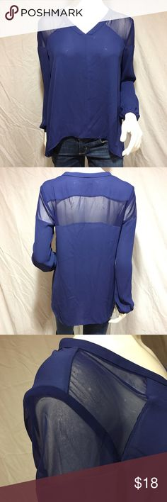 "Sheer blue top Adorable sheer blue top. Has see through panels on the shoulders and across back. The rest isn't very see through. Has small gold buttons on the cuffs of the sleeves. Slightly longer in the back. Front length:23"", back length: 27"", shoulder to shoulder: 16"", waist: 22"" across. In great condition. Feel free to make me a reasonable offer 💕 Cynthia Rowley Tops Blouses"