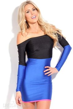 Bodycon, Dresses , $20.99, New Fahion Color Block Off-Shoulder Long Sleeve Bodycon Dress