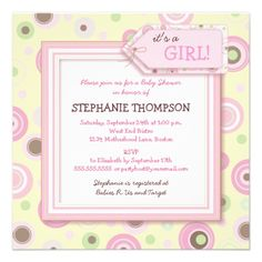 Happy Pink Dots Girl Baby Shower Invitation.  $2.05