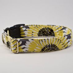 Grey and Citron Handmade Dog Collar