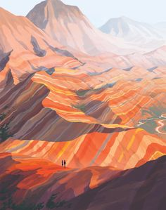 The Zhangye Danxia is a unique landform found in China. The mountain range seems to be made of candy-bright stripes of different sedimentary rock layers that have been forced upwards and carved down by time, revealing slices of Earth's colorful past.  / by Rebecca Mock