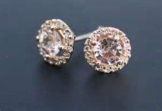 Champagne peach sapphire diamond earrings