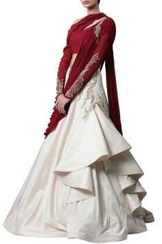 Shop Gaurav Gupta Deep red & ecru embellished saree gown , Exclusive Indian Designer Latest Collections Available at Aza Fashions Indian Fashion Dresses, Indian Gowns Dresses, Dress Indian Style, Indian Designer Outfits, Indian Wear, Designer Dresses, Designer Wear, Indian Outfits, Saree Gown