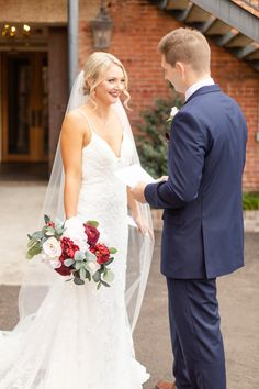Sarah and Nathan created a beautiful and budget savvy maroon and navy southern wedding filled with personal details. Navy Blue Suit, Couple Shots, Floor Length Dresses, Groom Attire, Bridesmaid Dresses, Wedding Dresses, Couples In Love, First Night