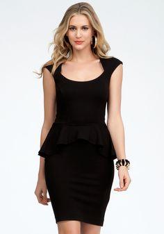 Bebe Mariah Peplum Dress in Black (blk) - Lyst