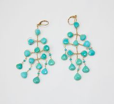 Alexis Bittar Turquoise And Gold Gold Plated Metal And Stones Earrings | VAUNTE