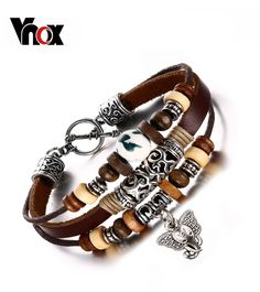Vintage Leather Bracelet For Men / Women Hand Chain Fashion Beads Charm Jewelry