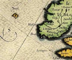 Reading area -Brasil showing up on the map of Ireland by Abraham Ortelius in 1572