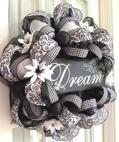 Image detail for -Elegant Black & White Deco Mesh Wreath by Southern Charm Wreaths. is creative inspiration for us. Get more photo about diy home decor related with by looking at photos gallery at the bottom of this page. We are want to say thanks if you like to share …