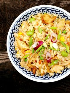 #Vegan #Glutenfree Chicken & 5-Spice Tofu Fried Brown Jasmine Rice #recipe @Hodo Soy @Beyond Meat