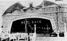 Coney Island Historic Fire at Dreamland - the fire started mid-season at the HELLGATE dark ride from a bulbs popping and a worker accidentally knocking over a bucket of tar which ended with Dreamland completed destroyed in flames.  Click on the picture to read the article and learn more about Coney Island's history.