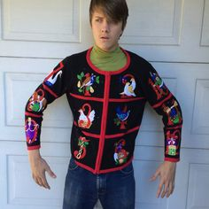 12 Days of Christmas Cardigan | Ugly Christmas Sweater by JennyandPearl on Etsy