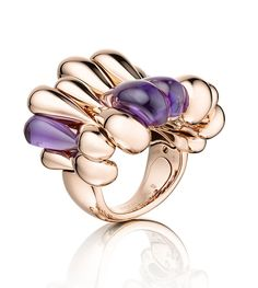 #Grisogono Quille ring in #rosegold set with 4 #amethyst drops