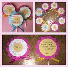 Invitations card, birthday, lollipop, flower, diy Invitation Cards, Invitations, Flower Diy, Card Birthday, Frame, Flowers, Home Decor, Homemade Home Decor, A Frame