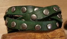 Leather Cuff-Green with Gunmetal Rivets & by LeatherVision on Etsy