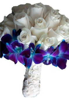 blue wedding flowers  myfloweraffair.com