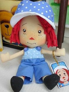 "8"" CLOTH DOLL FABRIC DOLLS RAGGEDY ANN ~ CUTE LITTLE ANDY"
