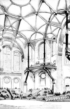 Viollet-le-Duc_Design for a concert hall, dated 1864, expressing Gothic principles in modern materials; brick, stone and cast iron
