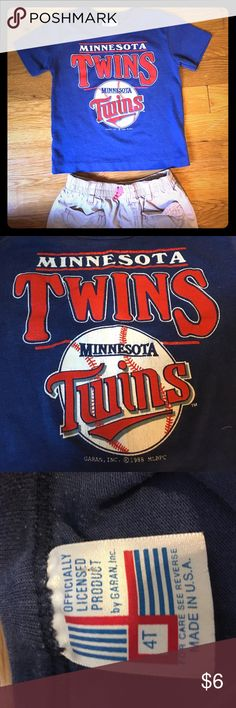 Minnesota Twins Tee- Boys or Girls 4T This is in fair used condition. Some cracking in letters, worn by both of my children ( boy and girl) and seems to be very old, not sure where we got it. Has a copyright 1988 on it. Still has life in it for all those little twins fans out there! Garan Shirts & Tops Tees - Short Sleeve