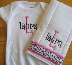 Personalized onesie and burp cloth