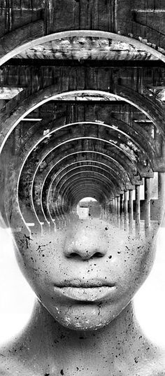 really-shit:  Spanish artist Antonio Mora is a creative photographer who transforms simple portraits into dreamy landscapes filled with intriguing emotion. In the series, entitled Dream Portraits, the artist elegantly blends two elements together to form an abstract fusion where distinct lines and shapes are no longer evident. The captivating portraits feature hauntingly beautiful faces that emerge from misty black and white forms like tree branches, rivers, bridges, and cloudy skies…