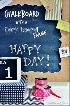 Chalkboard with Cork Board Frame @bHome.us