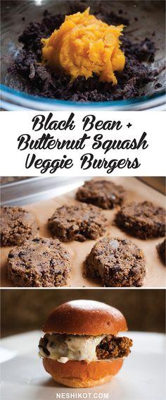 Homemade black bean and butternut squash veggie burgers <3 Vegan / egg free. Recipe by Neshikot.com