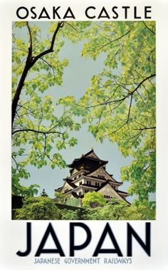 Japan Osaka Castle Travel Poster canvas printing wall decor print home decor printable prints art pr Retro Poster, Poster Ads, Vintage Travel Posters, Vintage Postcards, Poster Prints, Advertising Poster, Art Print, Party Vintage, Pub Vintage