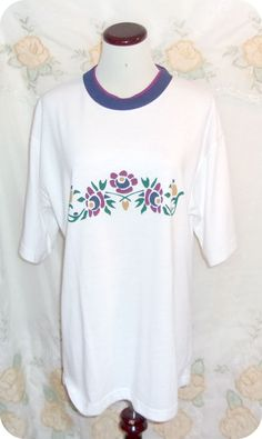 Blair Boutique Womens Top Size Large White Floral Short Sleeve Polyester Cotton  #Blair #KnitTop #CasualCareer #Fashion #Clothing #Womens #SizeL