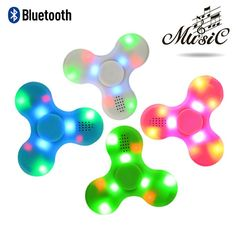 Fidget Spinner with Built in LED Bluetooth Speaker Hand Spinner Tri Spinning Top Decompression Finger Toys Pink Blue Green White