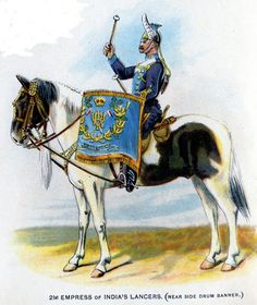 Empress of India Lancers, Kettle-Drummer, near side banner from Bands of the British Army by W. Gordon and illustrated by F. British Army Uniform, British Uniforms, War Drums, War Horses, British Indian, Military Art, Sailors, Great Britain, Marines