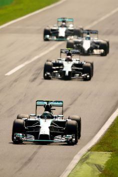 Nico Rosberg of Germany and Mercedes GP leads during the F1 Grand Prix of Italy at Autodromo di Monza on September 7 2014 in Monza Italy
