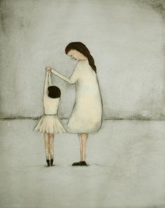 "Wall art. daughter mom. ballet art print   ""Dance - Mae and Bebe"""
