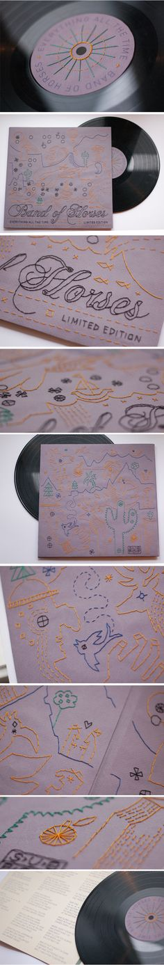 Handmade, and hand sewn Lp cover for Band of horses, especially made for blind and poorly sighted.