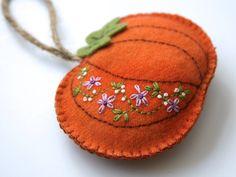 orange wool felt pumpkin with hand embroidered by FabricAndInk, $10.00