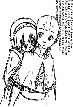 nice Toph And Aang Silver Color Sketch Avatar Aang Coloring Page