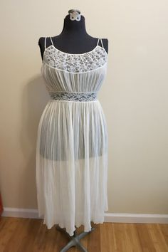 Wedding negligee lingerie sheer ivory lace by RadioRadioVintage
