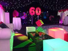 Neon Rubik's Cube Table Centre, Table Centre Hire, Hire Themed Table Centres