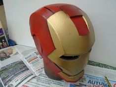Picture of Gold Paint, Weathering and Clear Coat Spray Paint Cans, Gold Spray Paint, Red Paint, Iron Man Helmet, Painters Tape, Foam Crafts, Projects To Try, Coat, Pictures