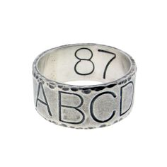 Mens Silver Coordinate Promise Ring Hand Stamped GPS Location