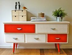 Upcycling and revamping furniture modern buffets and sideboards - this retro sideboard has been given a new life with a lick of paint and new drawers.
